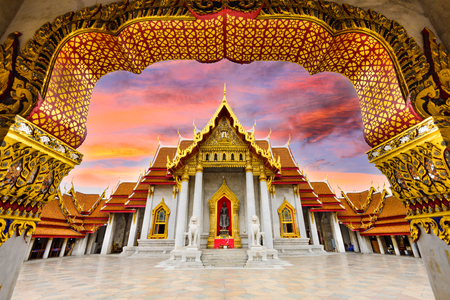 buddhist temple: Marble Temple of Bangkok, Thailand. Stock Photo