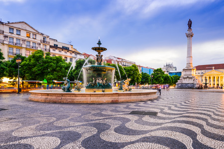 Lisbon, Portugal cityscape at Rossio Square.