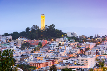 telegraph hill: San Francisco, California, USA cityscape at Coit Tower.