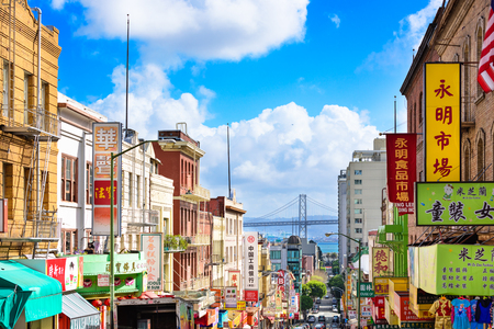 sightseeng: SAN FRANCISCO, CALIFORNIA: MARCH 6, 2016: Chinatown district of San Francisco towards the BayBridge.