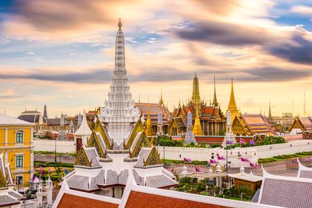 Bangkok, Thailand skyline at Temple of the Emerald Buddha and the Royal Palace.