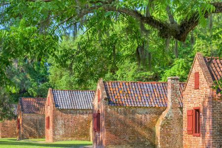 slave labor: Preserved plantation slave homes in Charleston, South Carolina, USA. Stock Photo