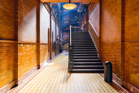 entranceway: LOS ANGELES - FEBRUARY 29, 2016: The Bradbury Building entranceway in Los Angeles. The historic building is featured prominently as a setting in films, television, and literature,