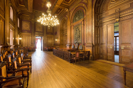 19th century: PORTO, PORTUGAL - OCTOBER 15, 2014: Interior of Stock Exchange Palace (Palacio da Bolsa). The palace was built in the 19th century by the citys Commercial Association.
