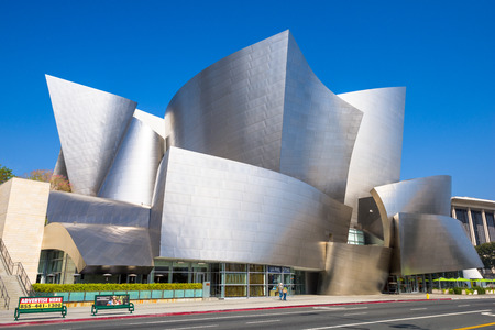 frank   gehry: LOS ANGELES - FEBRUARY 29, 2016: THE Walt Disney Concert Hall in LA. The building was designed by Frank Gehry and opened in 2003.