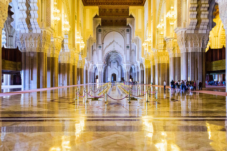 islamic scenery: CASABLANCA, MOROCCO, OCTOBER 24, 2014: Interior of Hassan II Mosque. It is the largest mosque in Morocco.