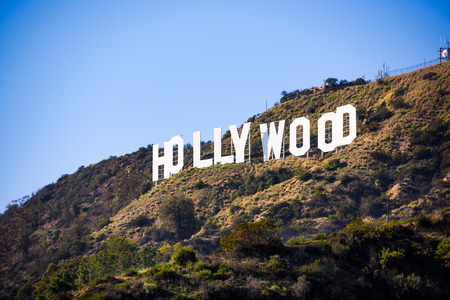 behind the scenes: LOS ANGELES _ FEBRUARY 29, 2016: The Hollywood sign on Mt. Lee. The iconic sign was originally created in 1923.