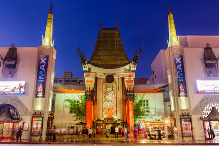 premieres: LOS ANGELES, CALIFORNIA - MARCH 1, 2016: Graumans Chinese Theater on Hollywood Boulevard. The theater has hosted numerous premieres and events since it opened in 1927.