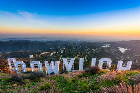 behind scenes: LOS ANGELES, CALIFORNIA - FEBRUARY 29, 2016: The Hollywood sign overlooking Los Angeles. The iconic sign was originally created in 1923.