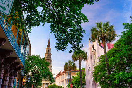 Charleston, South Carolina, USA historic downtown cityscape.
