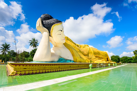 tha: Bago, Myanmar at Mya Tha Lyaung reclining buddhia. Stock Photo