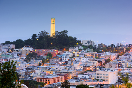 coit tower: San Francisco, California, USA cityscape at Coit Tower.