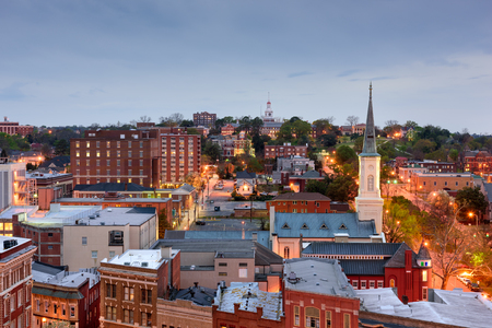 usa: Macon, Georgia, USA downtown skyline. Stock Photo