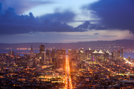 sunset city: San Francisco, California, USA skyline.
