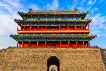 gatehouse: Beijing, China at the Zhengyangmen Gatehouse in Tiananmen Square. Editorial