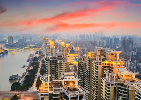 min: Fuzhou, China cityscape on the Min River.