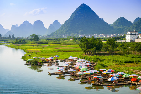 karst: Yangshuo, China on the Li River.