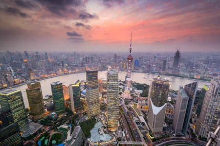 china: Shanghai, China cityscape overlooking the Financial District and Huangpu River.