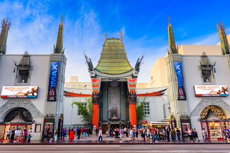 walk of fame: LOS ANGELES, CALIFORNIA - MARCH 1, 2016: Graumans Chinese Theater on Hollywood Boulevard. The theater has hosted numerous premieres and events since it opened in 1927.