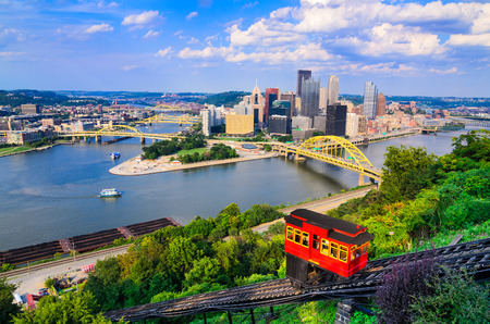 to incline: Pittsburgh, Pennsylvania, USA downtown skyline and incline.