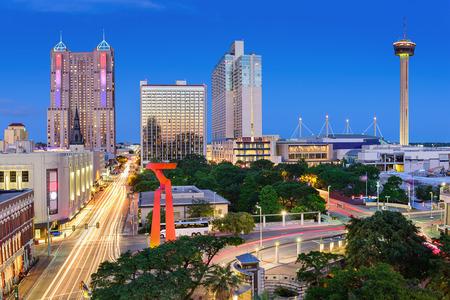 the famous building: San Antonio, Texas, USA downtown skyline. Stock Photo