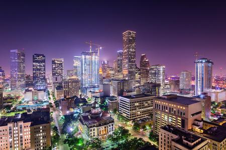 city and county building: Houston, Texas, USA downtown city skyline. Stock Photo