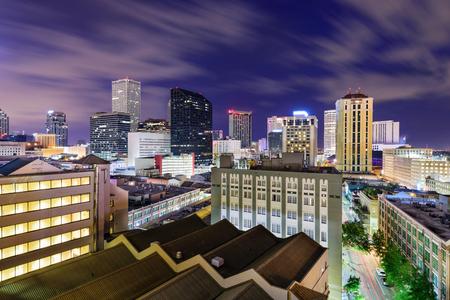 office buildings: New Orleans, Louisiana, USA CBD skyline at night.