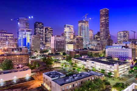 Houston, Texas, USA downtown city skyline at twilight.