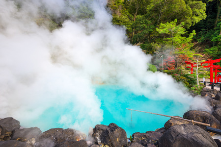 hot spring: Beppu, Japan at the Sea Hell hot spring so named for its blue water. Stock Photo