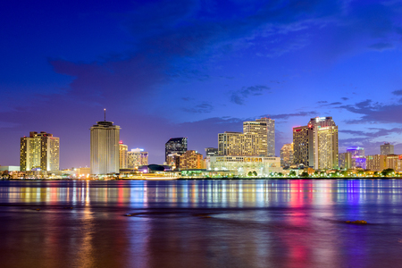 bourbon street: New Orleans, Louisiana, USA skyline on the Mississippi River.