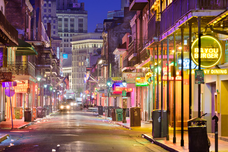 renown: NEW ORLEANS, LOUISIANA - MAY 10, 2016: Bourbon Street in the early morning. The renown nightlife destination is in the heart of the French Quarter. Editorial
