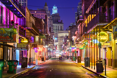 retail scene: NEW ORLEANS, LOUISIANA - MAY 10, 2016: Bourbon Street in the early morning. The renown nightlife destination is in the heart of the French Quarter. Editorial