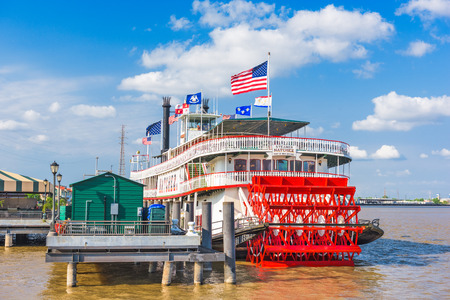 steamboat: NEW ORLEANS, LOUISIANA - MAY 10, 2016: The steamboat Natchez on the Mississippi River.