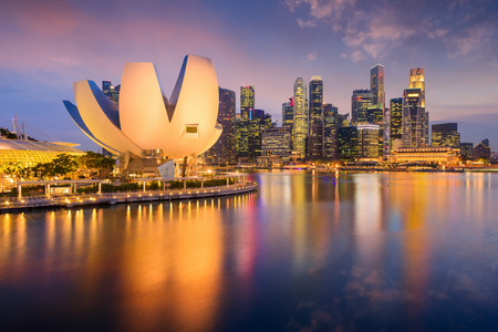 art museum: Singapore skyline at the Marina during twilight. Editorial