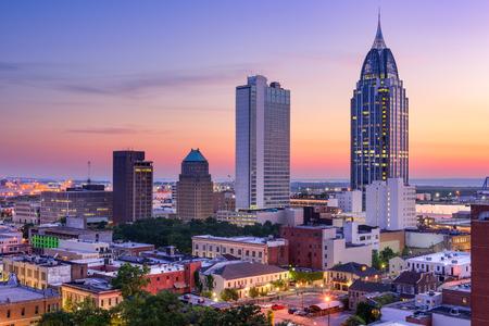 Mobile, Alabama, USA skyline van het centrum. Stockfoto