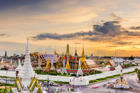 the emerald city: Bangkok, Thailand at the Temple of the Emerald Buddha and Grand Palace. Editorial