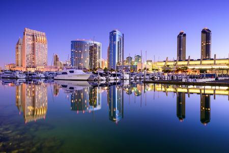 san: San Diego, California, USA skyline at the Embarcadero Marina.