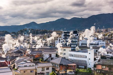 ryokan: Beppu, Japan cityscape with hot spring bath houses.