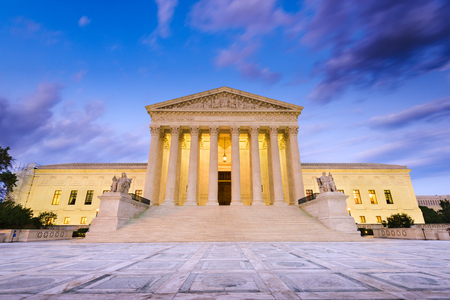 court: United States Supreme Court Building in Washington DC, USA.