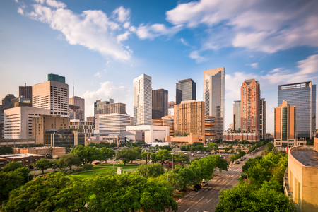 houston: Houston, Texas, USA downtown city park and skyline.