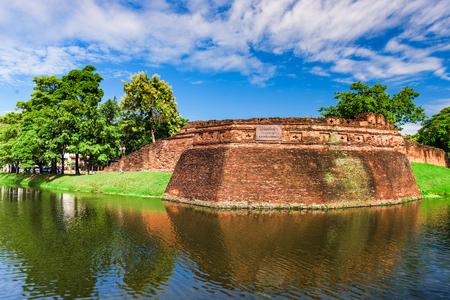 Chiang Mai, Thailand old city ancient wall and moat at Katam Corner.