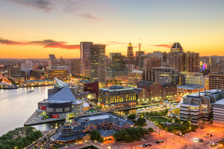 Baltimore, Maryland, USA downtown cityscape at dusk. Stock Photo
