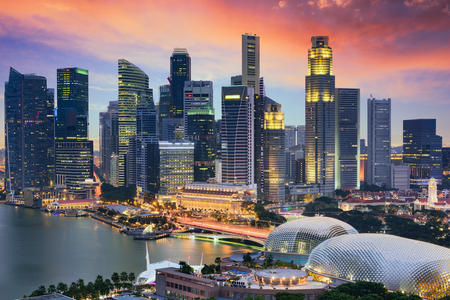 financial district: Singapore Financial District skyline at dusk. Editorial