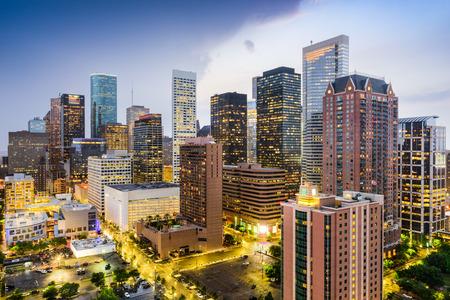 high rises: Houston, Texas, USA downtown city skyline. Stock Photo
