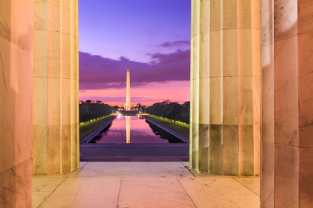 national monuments: Washington DC at the Reflecting Pool and Washington Monument viewed from Lincoln Memorial.