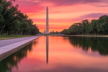 monument: Washington Monument on the Reflecting Pool in Washington, DC. Stock Photo
