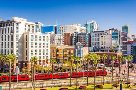 quarter: San Diego, California cityscape at the Gaslamp Quarter.