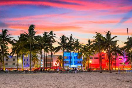 Cityscape van Miami, Florida, de VS op Miami Beach in Ocean Drive. Stockfoto