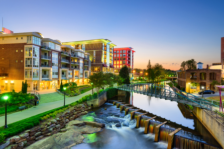 Greenville, South Carolina, USA downtown stadsbeeld. Stockfoto