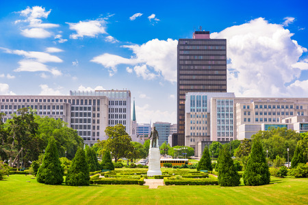 Baton Rouge, Louisiana, USA cityscape from the State Capitol grounds.